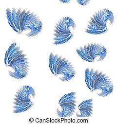 Seamless blue fractal wings pattern on white