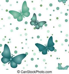 Seamless blue grey butterfly pattern