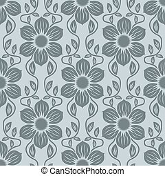 Seamless blue grey flower vector background.