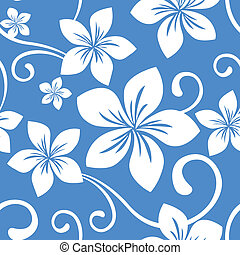 Seamless Blue Hawaii Pattern - Illustration of a seamless...