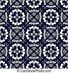 Seamless Blue Japanese Background Cross Spiral Round Flower Kaleidoscope