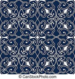 Seamless Blue Japanese Background Spiral Cross Round Flower Kaleidoscope