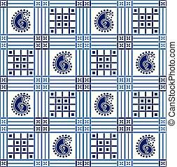 Seamless blue paisley pattern on white background