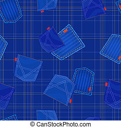 seamless blue pattern with jeans pockets