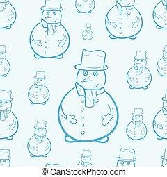 Seamless blue snowmen