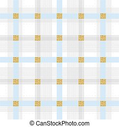 seamless blue stripe pattern on white background with gold square glitter