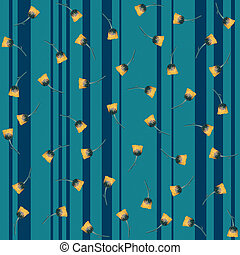Seamless blue striped background with yellow flowers