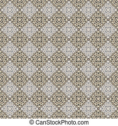 Seamless diagonal pattern of intricately designed tiles in putty grey, beige, navy, cobalt, tan, ecru, and cadet blue.