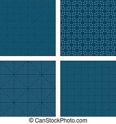 Seamless blue triangle pattern set