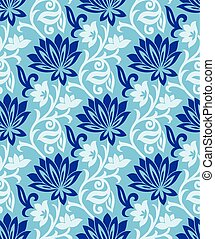 Seamless blue vector floral background