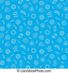 Seamless blue vector pattern with outline bacteria icons -...