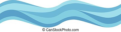 Seamless blue wave. Abstract colorful design element isolated on white. Flat design. Vector illustration. EPS 8, no transparency