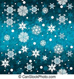 Seamless blue winter snowflakes pattern background