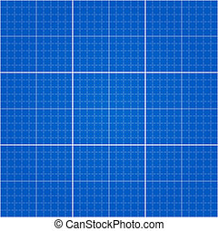 Seamless Blueprint Background - Engineering drawing blue...