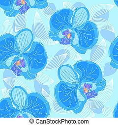 seamless, blumen muster, orchideen
