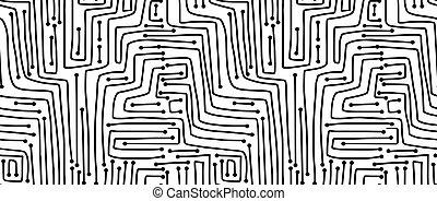 seamless, board., computador, pattern., circuito