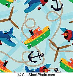 Aeronautical and nautical seamless pattern.