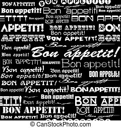 "Seamless ""Bon appetit!"" pattern. 
