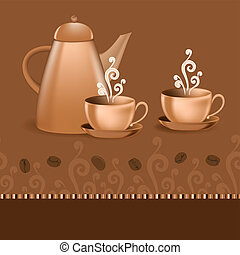 Seamless border with coffee pot and cups