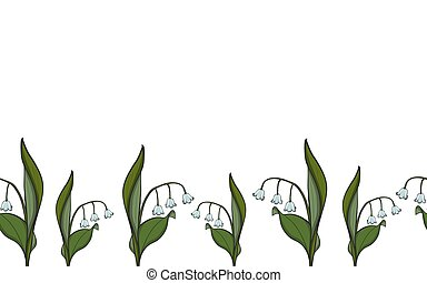 Seamless border Lily of the valley
