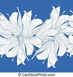 Seamless border made of magnolia flowers