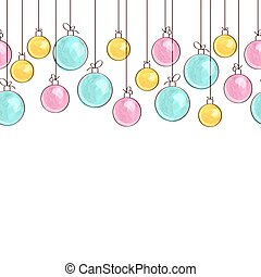 Seamless border made of watercolor Christmas ball toys.