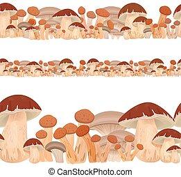 seamless border of mushrooms