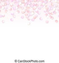 Seamless border of pink realistic confetti, design template...