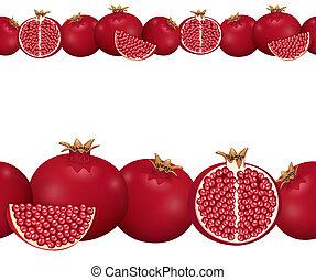 seamless border of pomegranate