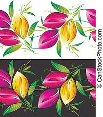Seamless border of tulip flowers