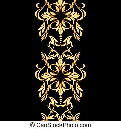 Seamless border pattern on black