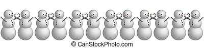 Seamless border snowman in 3D