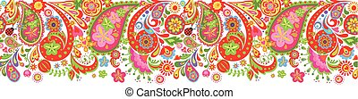 Seamless border with abstract colorful flowers print