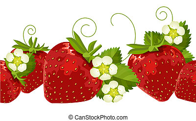 Seamless border with berries - Ripe strawberries, leaves and...