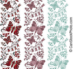 Seamless border with butterflies