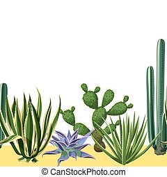 Seamless border with cactuses and succulents set. Plants of desert