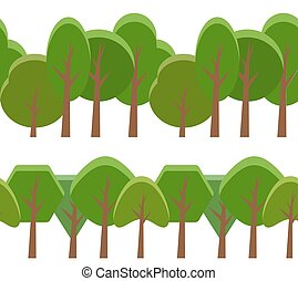 Seamless border with cartoon trees of different shapes. Vector element for your creativity