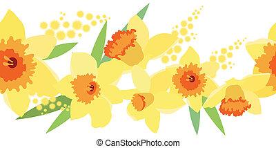 Seamless border with daffodils - Seamless horizontal spring...