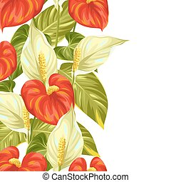 Seamless border with flowers spathiphyllum and anthurium.