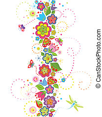 Seamless border with funny colorful flowers