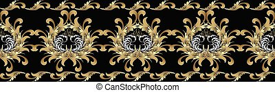Seamless border with gold flowers. Antique baroque pattern.