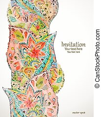 seamless border with magic pattern. watercolor painting