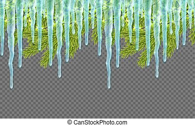 Seamless border with realistic firtree, sparkling lights, ...