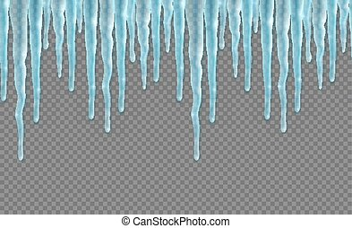 Seamless border with realistic icicles. Design template for ...
