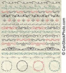 Set of Hand Sketched Doodle Design Elements. Artistic Hand Sketched Decorative Doodle Vintage Seamless Borders and Frames on Crumpled Paper Texture. Pen Drawing Vector Illustration. Pattern Brushes