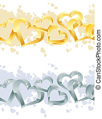 Seamless borders made of hearts - Gold and silver seamless...