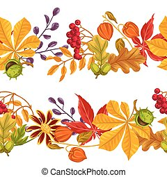 Seamless borders with autumn leaves and plants. Background...