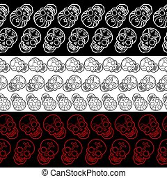 Seamless borders with decorative mexican skulls