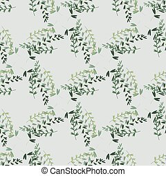 Seamless botanic pattern with branches bouquet in green colors on light grey background. Design in pale tones.