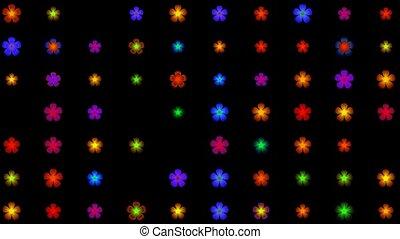 seamless, boucle, lumière néon, fleur